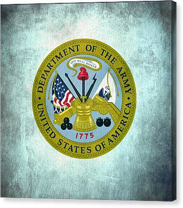 Department Of The Army Seal On Canvas Canvas Print by Dan Sproul