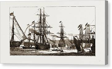 Departure Of The Arctic Expedition The Alert Canvas Print by Litz Collection
