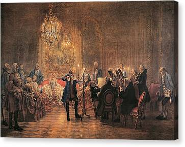 depicting a flute concert of Frederick the Great Canvas Print