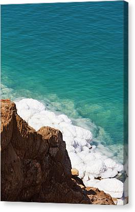 Deposit Of Salt And Gypsum By The Cliff Canvas Print by Keren Su