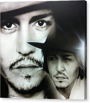 Johnny Depp - ' Depp ' Canvas Print by Christian Chapman Art