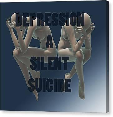Depression A Silent Suicide Canvas Print by Sir Josef - Social Critic -  Maha Art