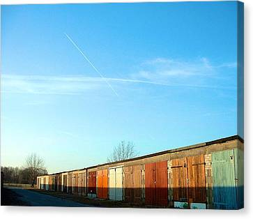 Canvas Print featuring the photograph Depuis Les Garages Colores by Marc Philippe Joly