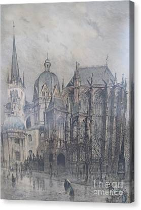 Street Art Canvas Print - Der Dom - Aachen Germany by Anthony Morretta
