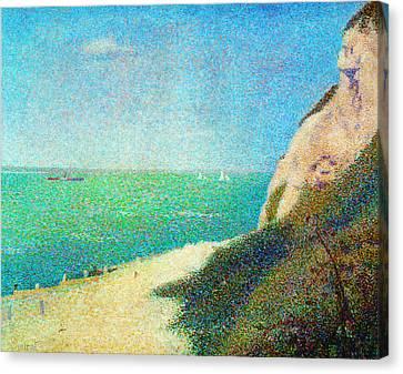 Der Strand Le Bas Butin Bei Honfleur Canvas Print by Georges Seurat