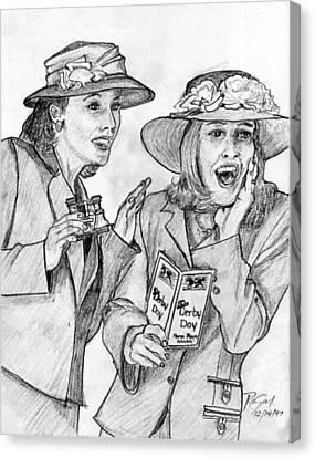 Derby Ladies Pencil Portrait Canvas Print by Rom Galicia