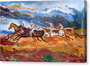 Canvas Print featuring the painting Derby Race Horses by Anand Swaroop Manchiraju