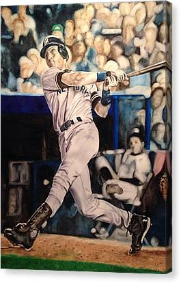 Derek Jeter Canvas Print by Lance Gebhardt