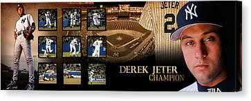 Derek Jeter Panoramic Art Canvas Print by Retro Images Archive
