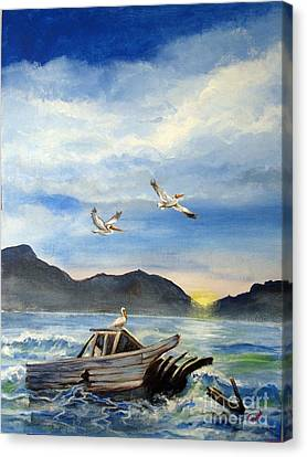 Canvas Print featuring the painting Derelict by Carol Hart
