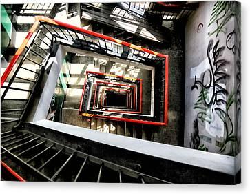 Derelict Stairwell Canvas Print by Russ Dixon
