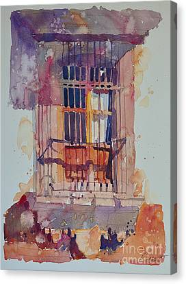 Canvas Print featuring the painting Derelict Window by Roger Parent