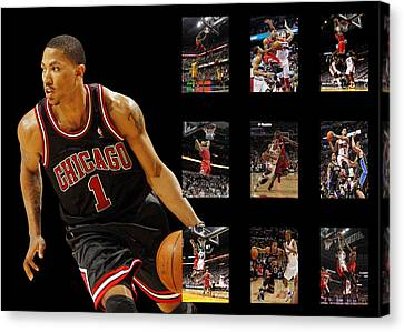 Dunk Canvas Print - Derrick Rose by Joe Hamilton
