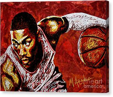 Derrick Rose Canvas Print by Maria Arango