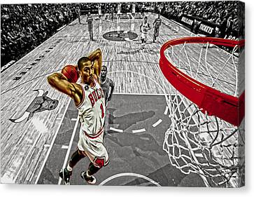Derrick Rose Took Flight Canvas Print by Brian Reaves