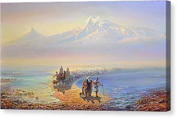 Descent Of Noah From Mountain Ararat Canvas Print
