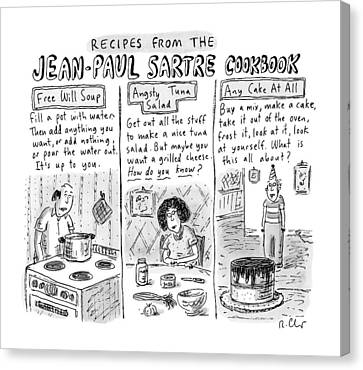 Descriptions Of Jean-paul Sartre Cookbook Recipes Canvas Print by Roz Chast