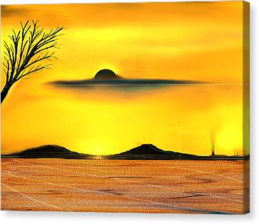 Canvas Print featuring the painting Desert Eclipse by Yul Olaivar
