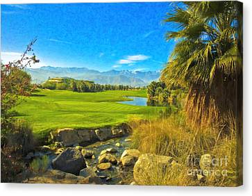 Desert Golf Resort Pastel Photograph Canvas Print by David Zanzinger
