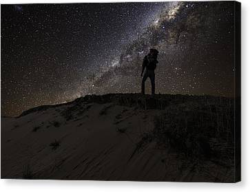 Milky Way Canvas Print - Desert Hiking by Nebojsa Novakovic
