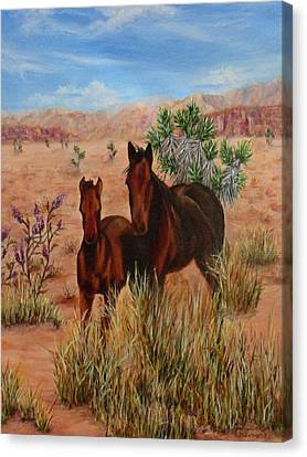 Canvas Print featuring the painting Desert Horses by Roseann Gilmore