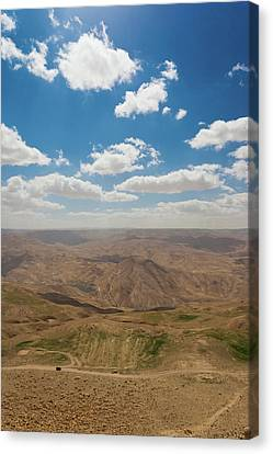 Jordan Canvas Print - Desert Landscape By The Tannur Dam by Panoramic Images