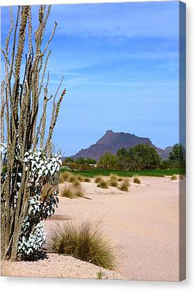 Canvas Print featuring the photograph Desert Mountain by Mike Ste Marie