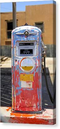 Desert Mountain Super Gasoline - Bennett Gas Pump Canvas Print by Mike McGlothlen