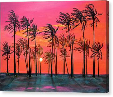 Desert Palm Trees At Sunset Canvas Print by Asha Carolyn Young