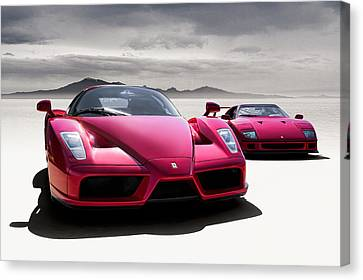 Red Ferrari Canvas Print - Desert Showdown by Douglas Pittman