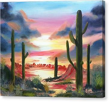 Desert Sunrise Canvas Print by Roy Gould