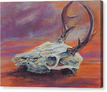Canvas Print featuring the painting Desert Sunset Deer by Mary Schiros