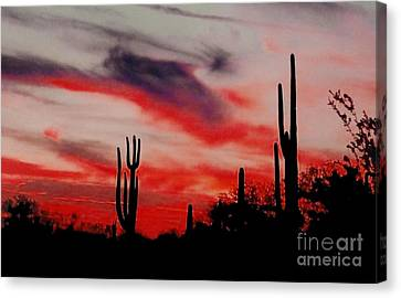 Desert Sunset Northern Lights Version 3 Canvas Print by Joseph Baril