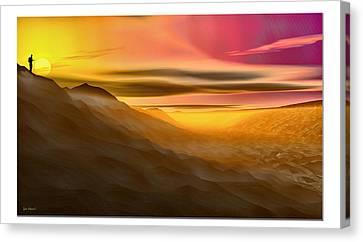 Canvas Print featuring the digital art Desert Sunset by Tyler Robbins