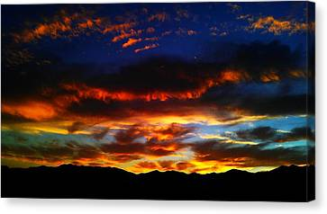 Canvas Print featuring the photograph Desert Winter Sunset  by Chris Tarpening