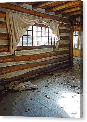 Deserted Log Cabin Interior - Light Through The Window Canvas Print by Rebecca Korpita