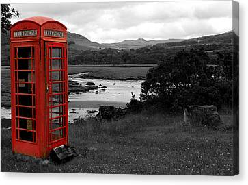British Telephone Box In Tighnabruaich Canvas Print by JM Braat Photography