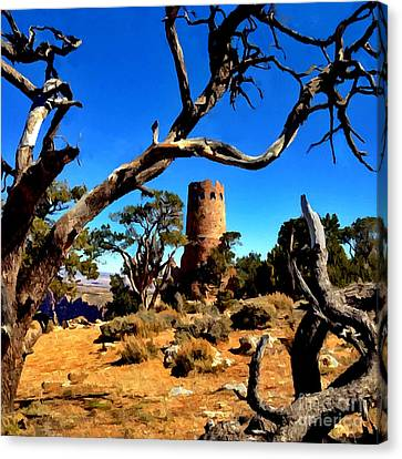 Desertview Watchtower Grand Canyon Canvas Print by Bob and Nadine Johnston