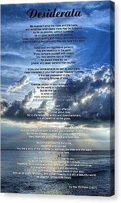 Desiderata 7 - Inspirational Art By Sharon Cummings Canvas Print by Sharon Cummings
