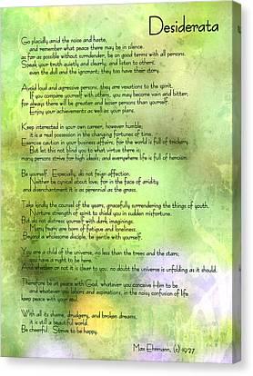Desiderata - Inspirational Poem Canvas Print