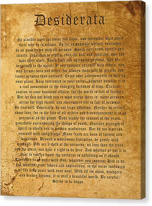 Desiderata Canvas Print by Kurt Van Wagner