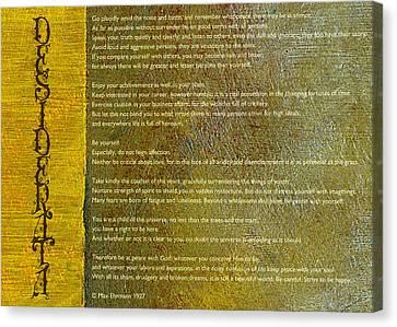 Desiderata Ll Canvas Print by Michelle Calkins