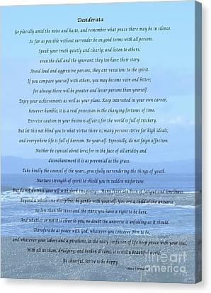 Desiderata On Beach And Ocean Scene Canvas Print by Barbara Griffin