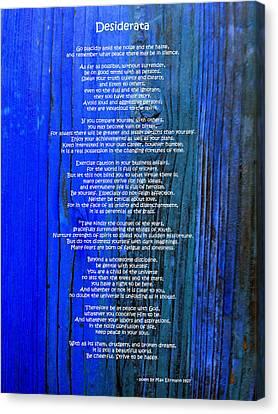 Desiderata On Blue Canvas Print by Leena Pekkalainen