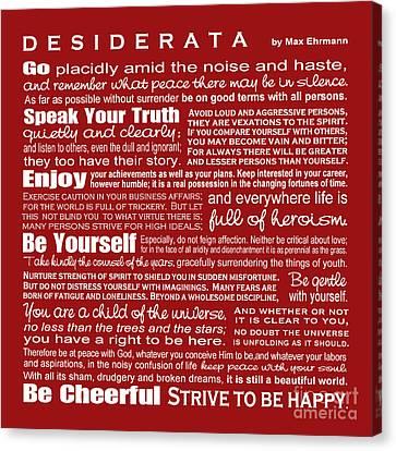 Desiderata - Red Canvas Print