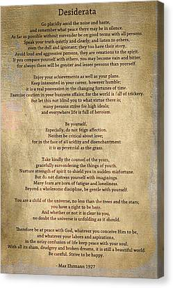 Desiderata - Scrubbed Metal Canvas Print