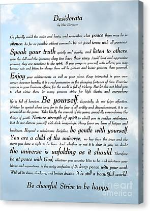 Desiderata - Sky Design Canvas Print by Ginny Gaura