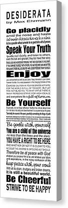 Desiderata - Subway Style Canvas Print by Ginny Gaura
