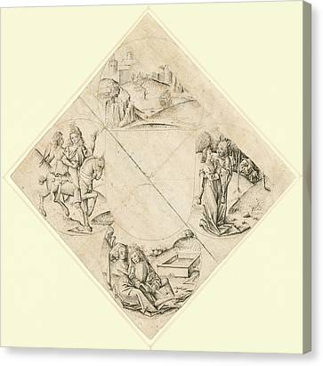 Design For A Quatrefoil With A Castle, Two Lovers Canvas Print by Litz Collection