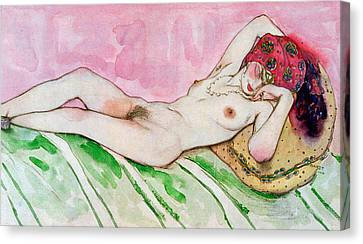 Sex Canvas Print - Design For The Red Sultana by Leon Bakst